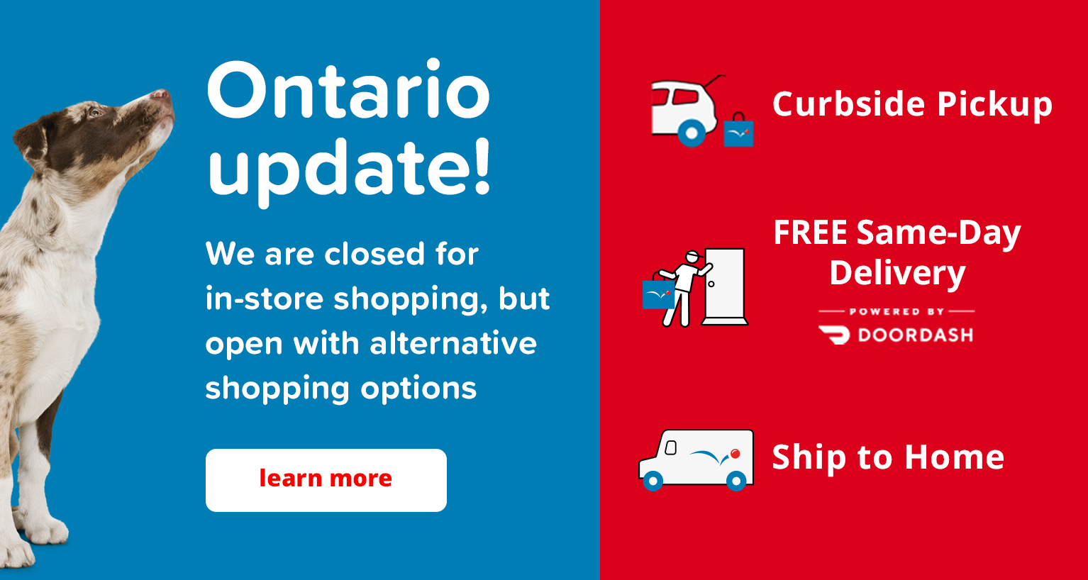 Ontario stores are open for curbside pickup, ship to home or same-day delivery.