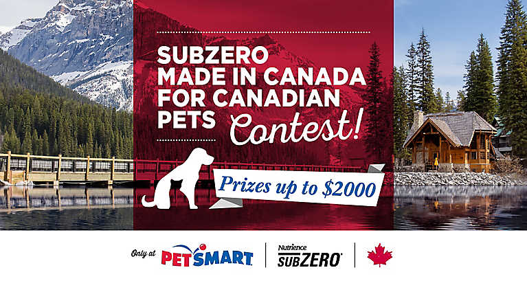 Subzero brings you a Made in Canada for Canadian Pets Contest where Treats™ members are automatically entered to win with every purchase of Nutrience Subzero food.