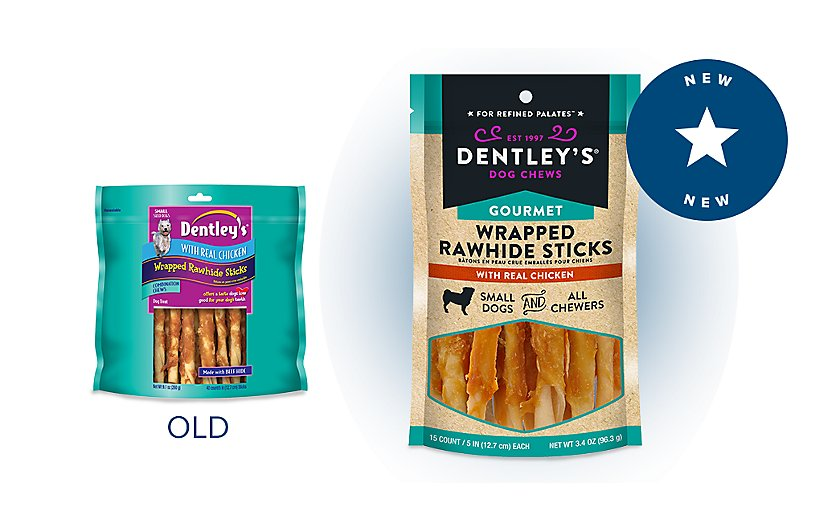 same great gourmet rawhide sticks, new look!