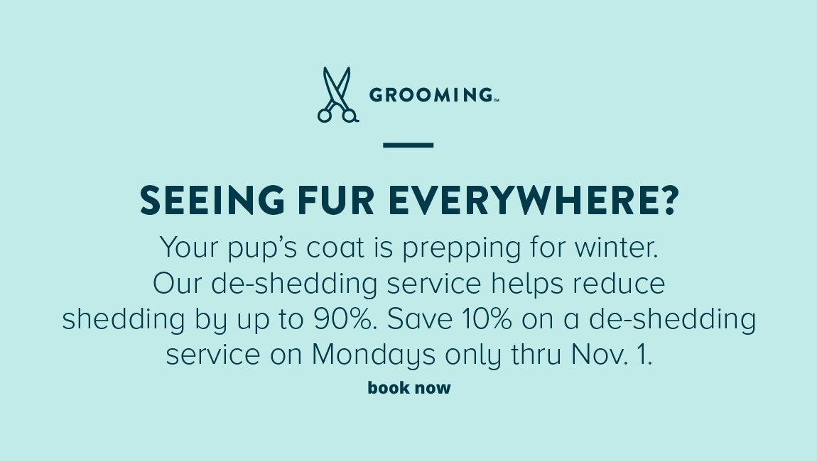 FUR FLYING EVERYWHERE? Your pup's coat is prepping for winter.                     Our de-shedding service helps reduce shedding by up to 90%. Save 10% on a de-shedding service on Mondays only through Nov. 1.