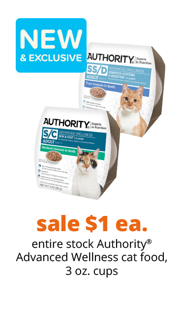 sale $1 ea. entire stock Authority® Advanced Wellness cat food, 3 oz. cups