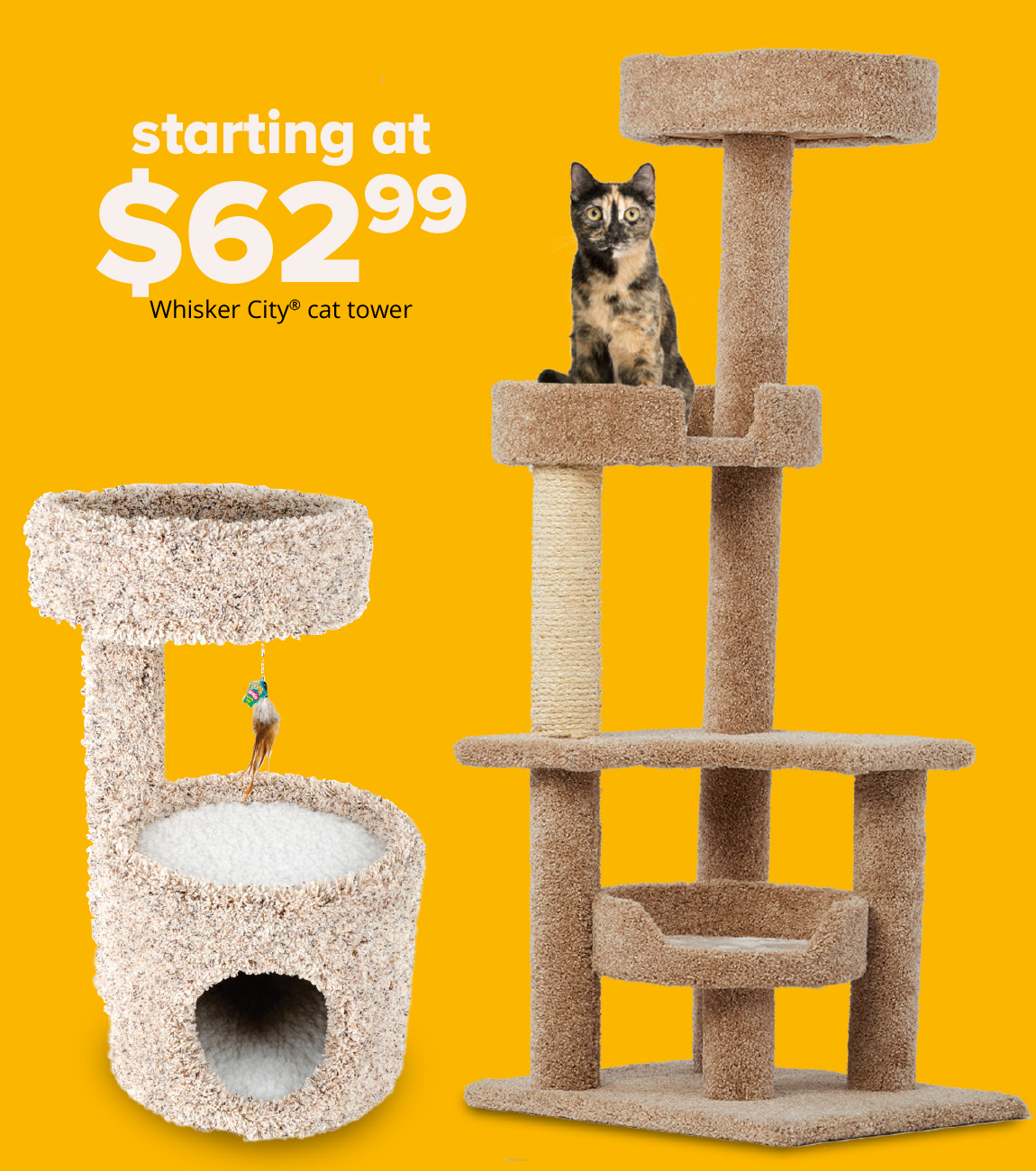 starting at $62.99 Whisker City® cat tower