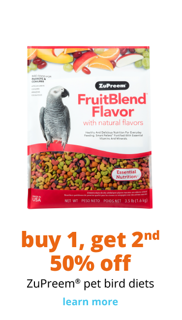 buy 1, get 2nd 50% off ZuPreem® pet bird diets