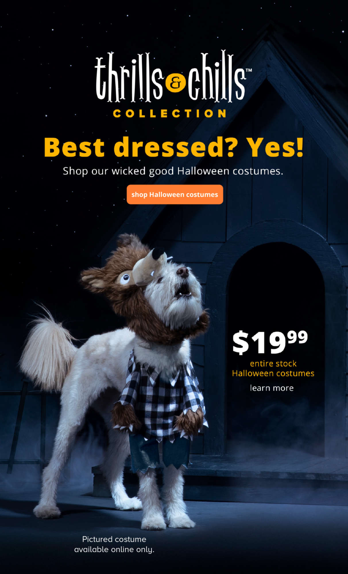 $19.99 Best dressed? Yes! Shop our wicked good Halloween costumes. entire stock Halloween costumes. Pictured costume available online only.