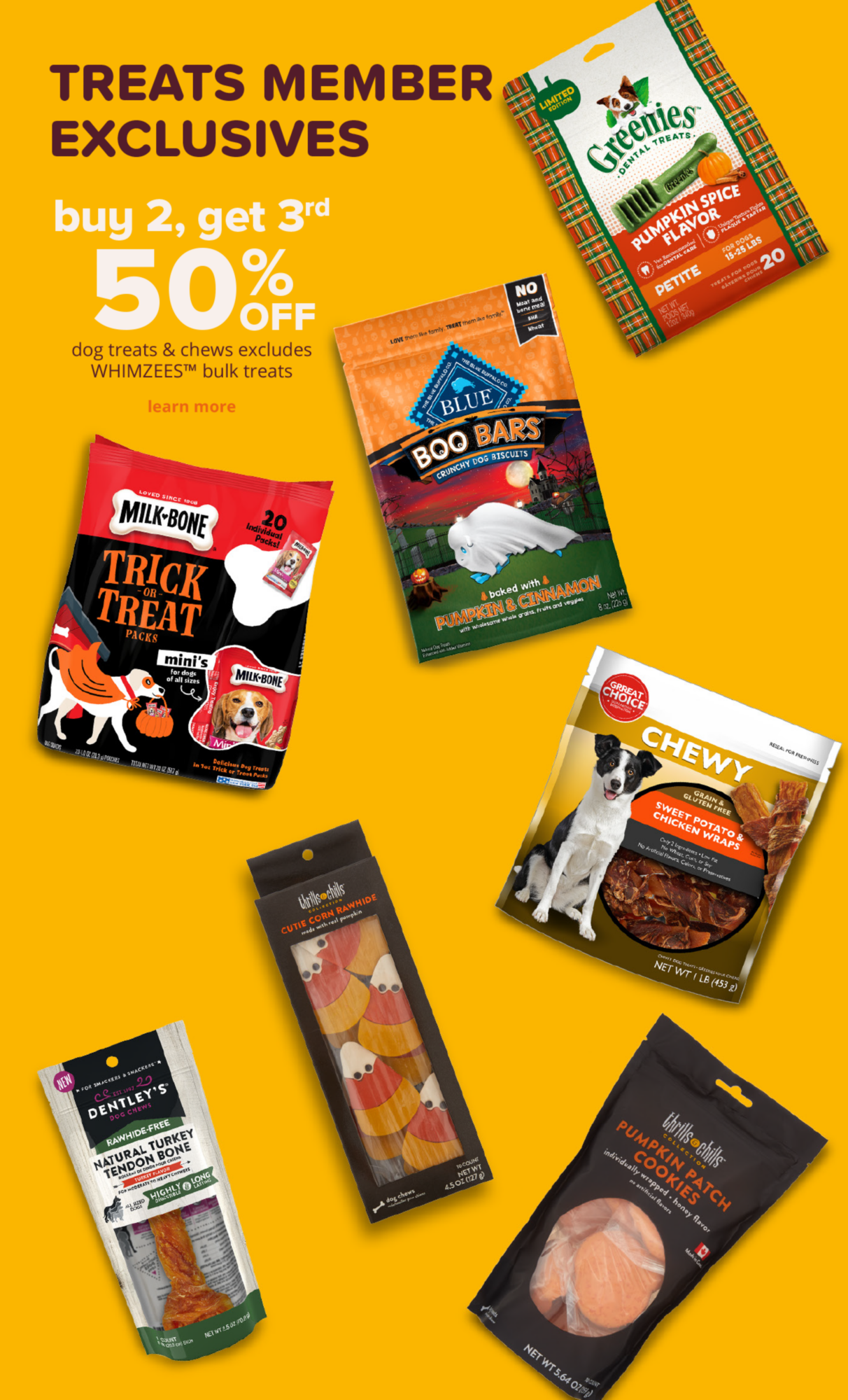 buy 2, get 3rd 50% off dog treats & chews excludes WHIMZEES™ bulk treats