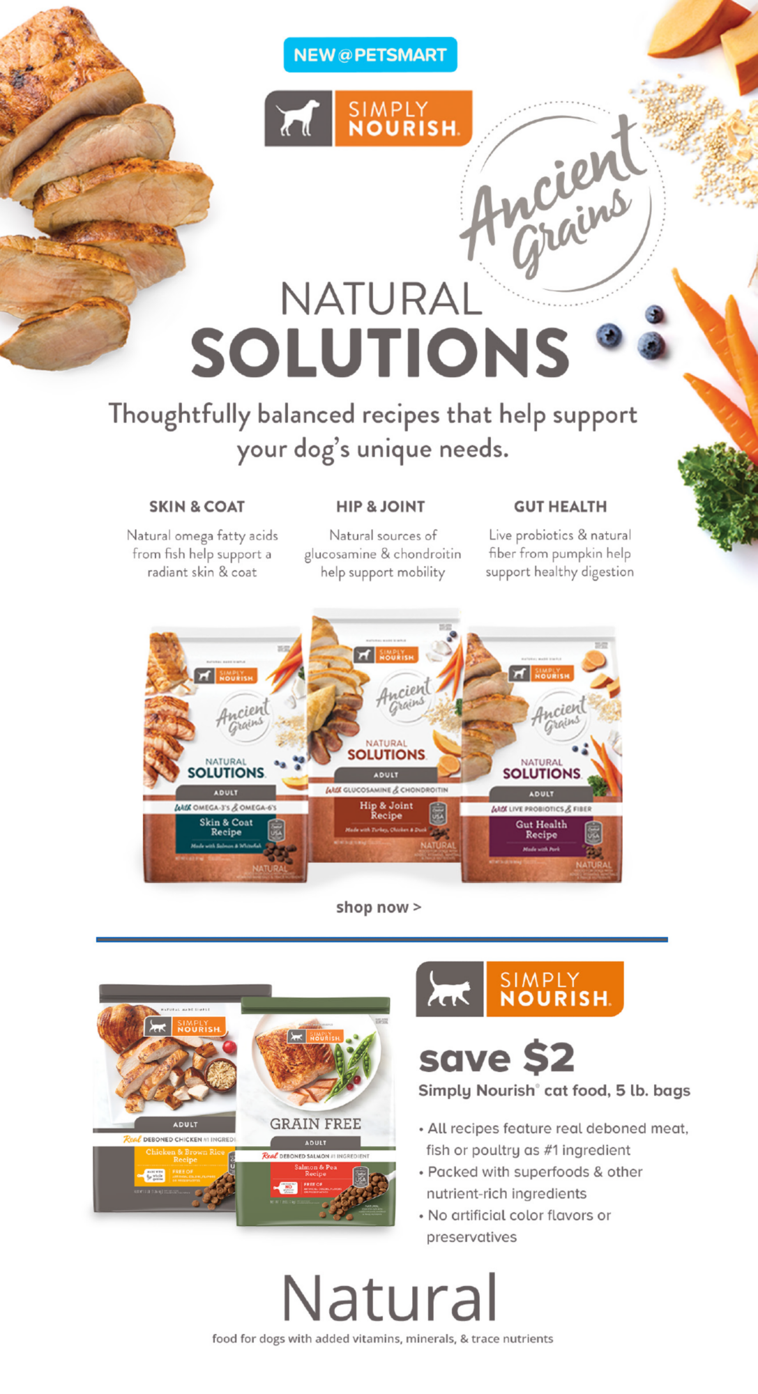 Simply Nourish Natural Solutions Dog Food & Cat Offer Banner @ Bottom