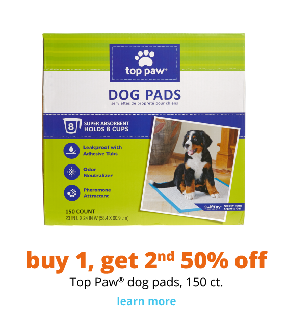 buy 1, get 2nd  50% off Top Paw® dog pads, 150 ct.