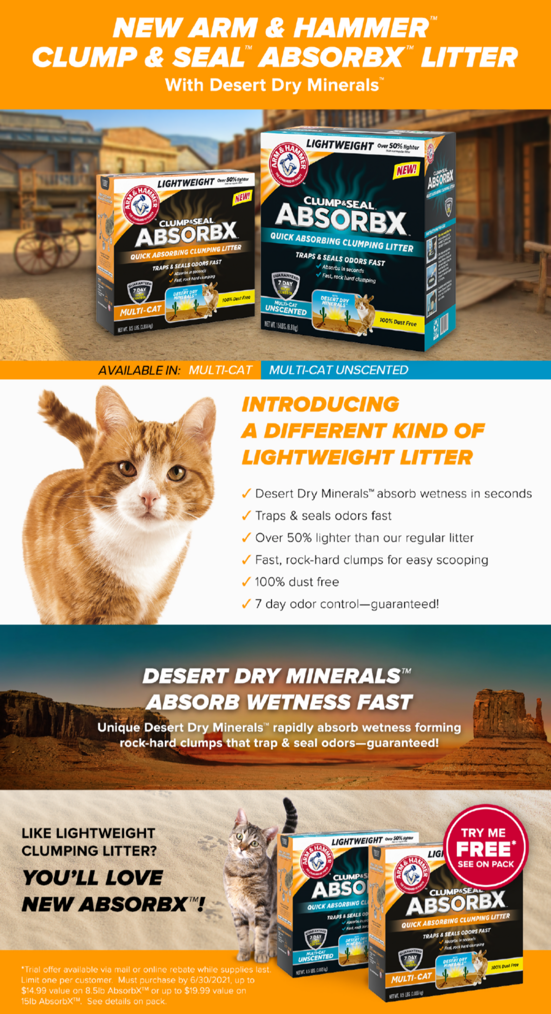 ARM & HAMMER ABSORBX cat litter vendor page