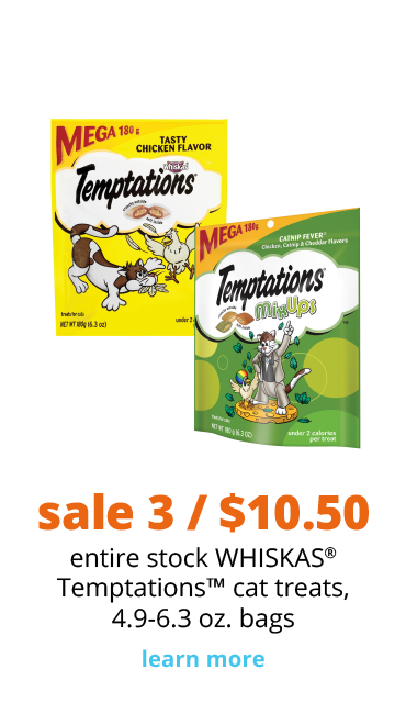 sale 3 / $10.50 entire stock WHISKAS® Temptations™ cat treats, 4.9-6.3 oz. bags