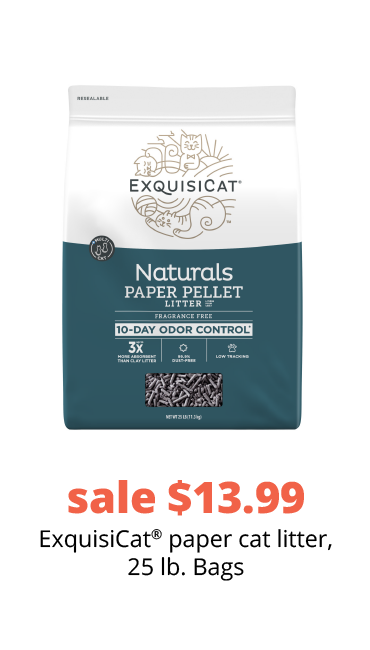 sale $13.99 ExquisiCat®paper cat litter, 25 lb. Bags