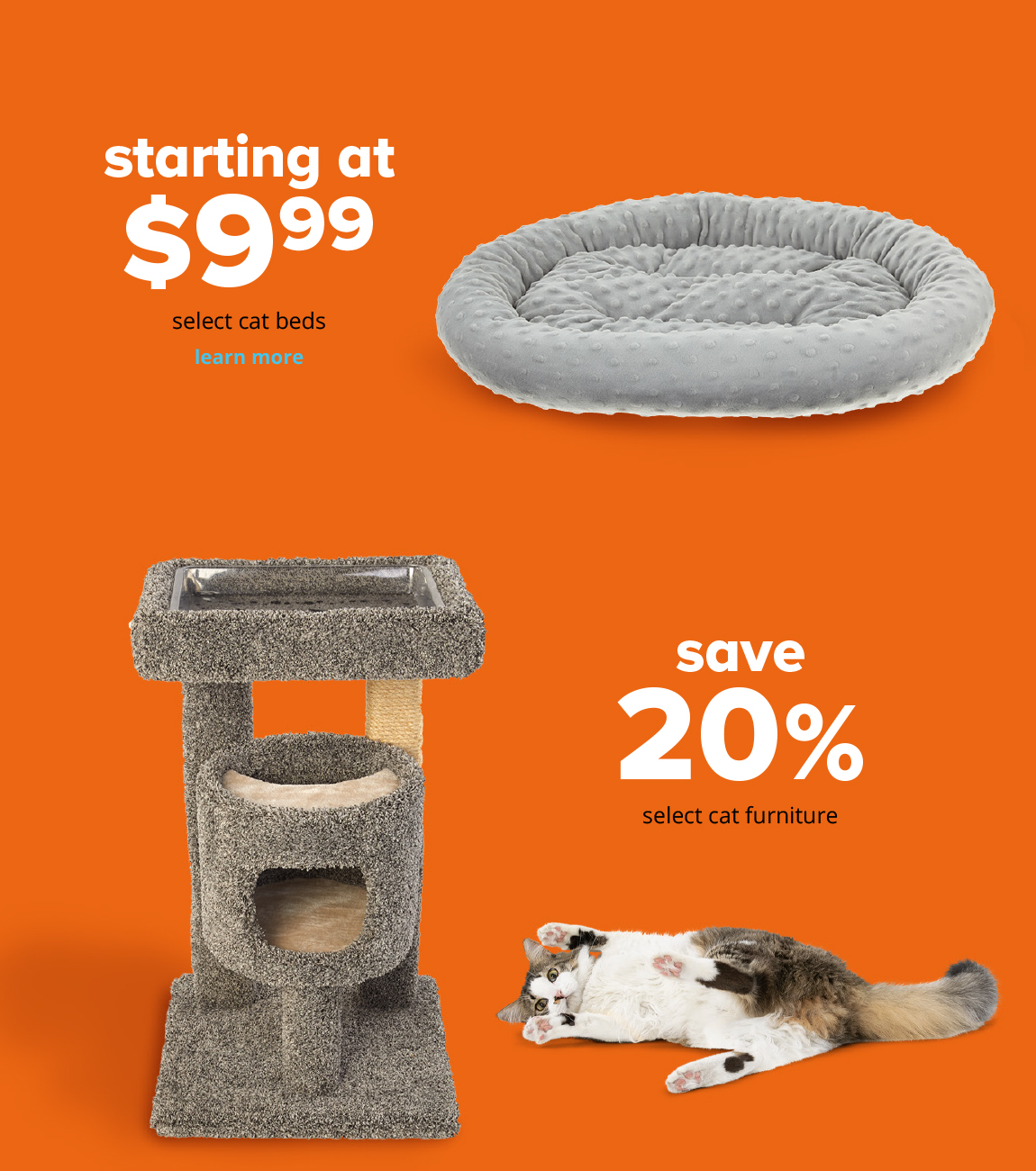 starting at $9.99 select cat beds, save 20% select cat furniture