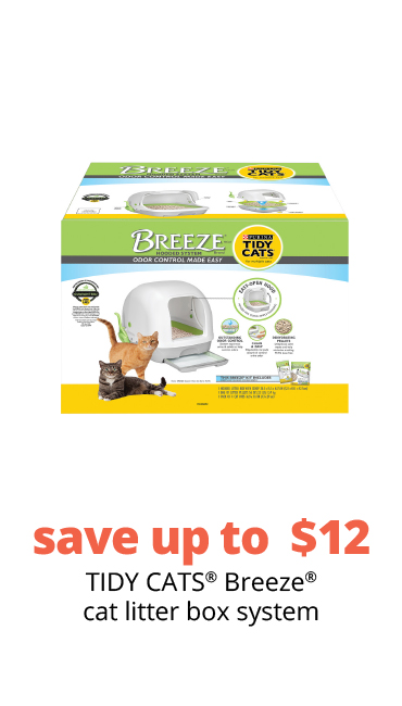 save up to  $12 TIDY CATS® Breeze® cat litter box system