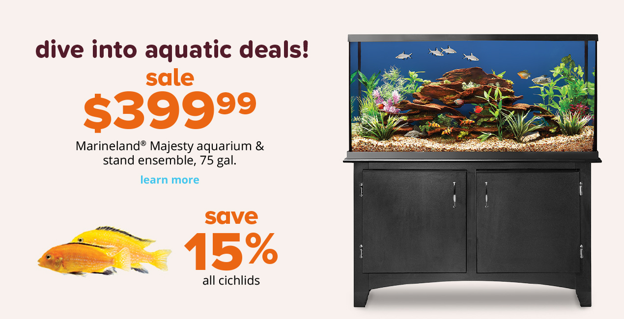 sale $399.99 Marineland® Majesty aquarium & stand ensemble, 75 gal. save 15% all cichlids