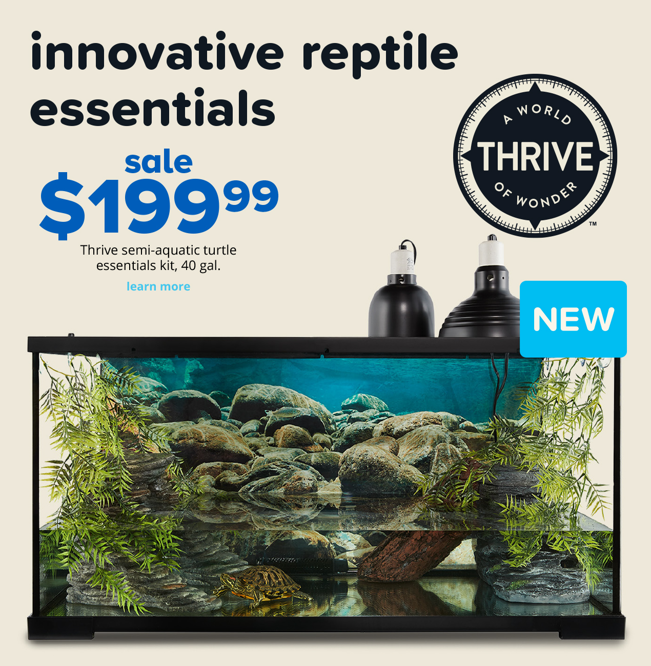 sale $199.99 Thrive semi-aquatic turtle essentials kit, 40 gal.