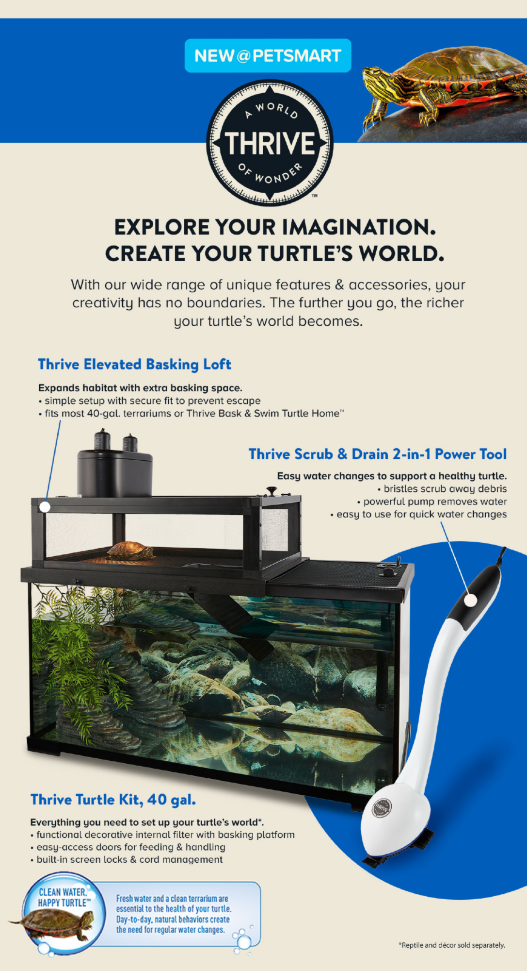 NEW at PETSMART                         A World of Wonder Thrive                         EXPLORE YOUR IMAGINATION. CREATE YOUR TURTLE'S WORLD.                          With our wide range of unique features & accessories, your creativity has no boundaries. The further you go. The richer your turtle's world becomes.                                                   Thrive Elevated Basking Loft: Expands habitat with extra basking space.                         *simple setup with secure fit to prevent escape                         *fits most 40-gal. terrariums or Thrive bask & swim turtle home.                                                   Thrive Scrub & Drain 2-ni-1 power tool: Easy water changes to support a healthy turtle.                         *bristles scrub away debris                         *powerful pump removes water                         easy to use for quick water changes                                                  Thrive Turtle Kit, 40 gal. : Everything you need to set up your turtle's world.                          *functional decorative internal filter with basking platform                         *easy-access doors for feeding & handling                         *built-in screen locks & cord management                                                  CLEAN Water Happy Turtle: Fresh water and a clean terrarium are essential to the health of your turtle. Day-to-day, natural behaviors create the need for regular water changes.