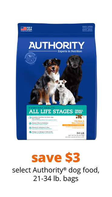 save $3 select Authority® dog food, 21-34 lb. bags