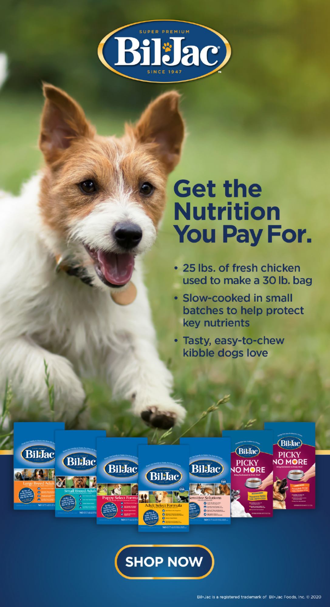 Bil Jac Get the nutrition you pay for. *25 lbs. of fresh chicken used to make a 30 lb. bag *Slow-cooke in small batches to help protect key nutrients *Tasty, easy-to-chew kibble dogs love