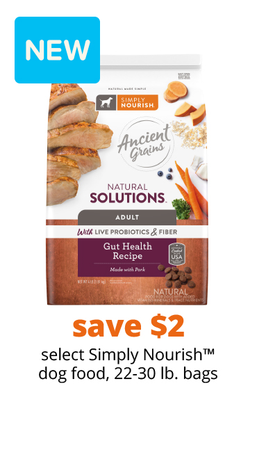 save $2 select Simply Nourish™ dog food, 22-30 lb. bags