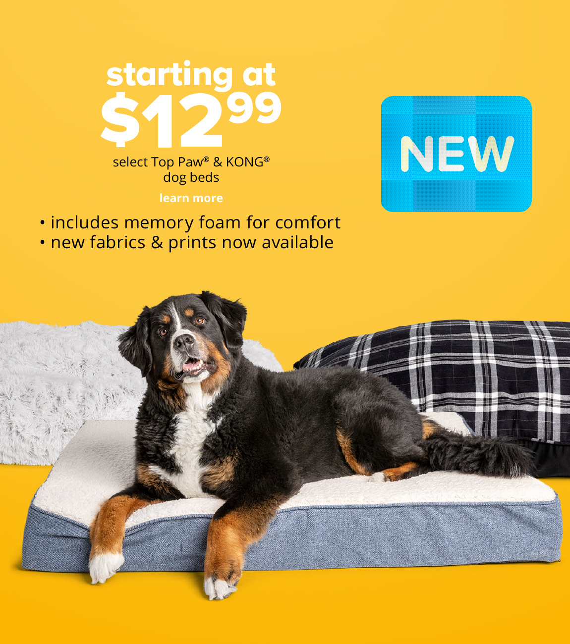 starting at $12.99 select Top Paw® & KONG® dog beds *includes memory foam for comfort *new fabrics & prints now available