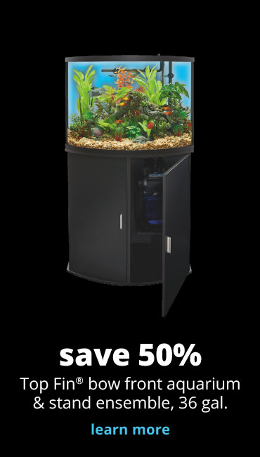 save 50% Top Fin® bow front aquarium & stand ensemble, 36 gal.