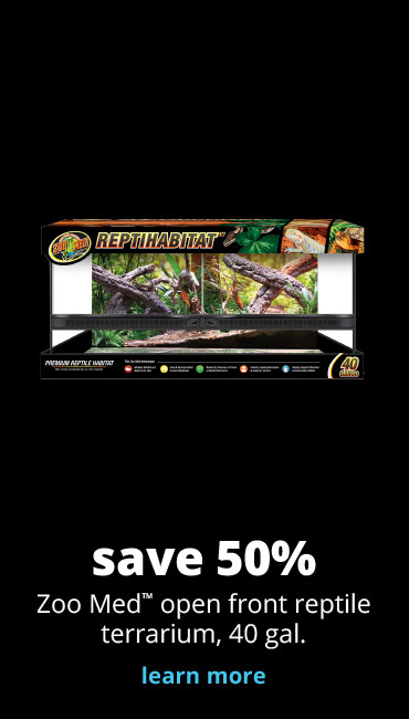 save 50% Zoo Med™ open front reptile terrarium, 40 gal.
