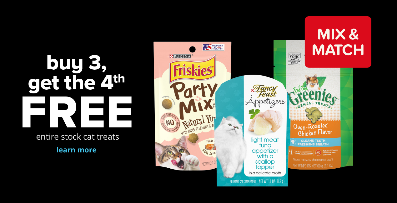 buy 3, get the 4th FREE entire stock cat treats