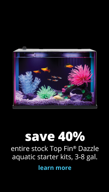 save 40% 	entire stock Top Fin® Dazzle aquatic starter kits, 3-8 gal.