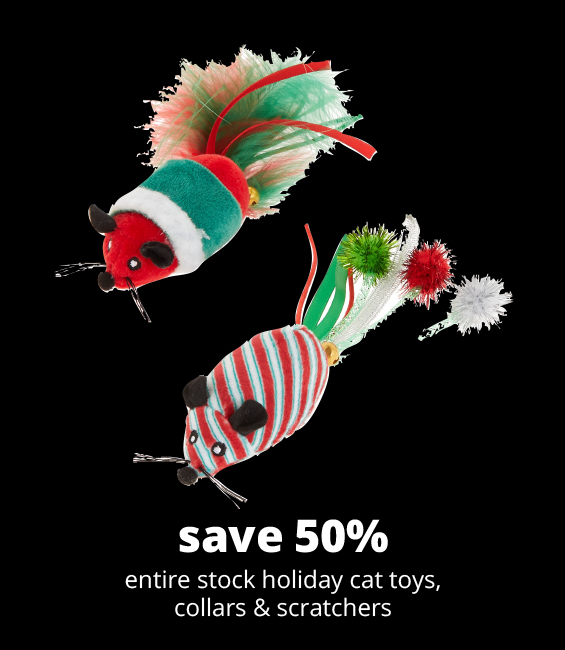 save 50% 	entire stock holiday cat toys, collars & scratchers