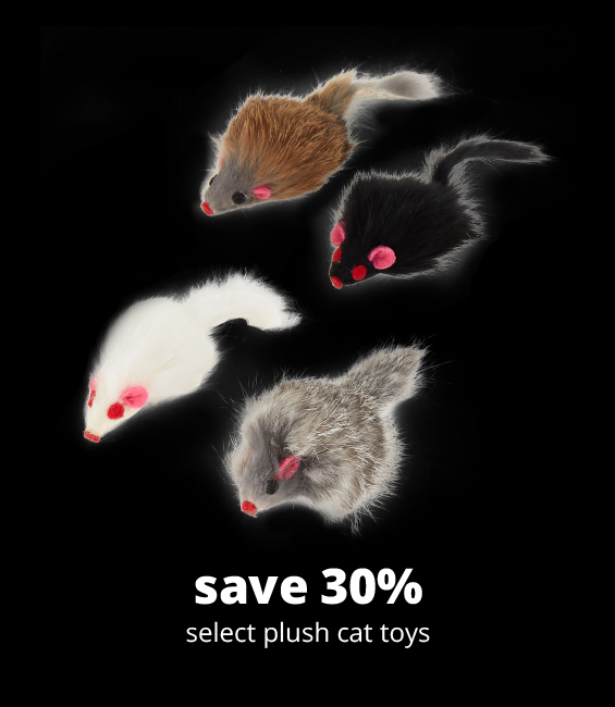 save 30% select plush cat toys