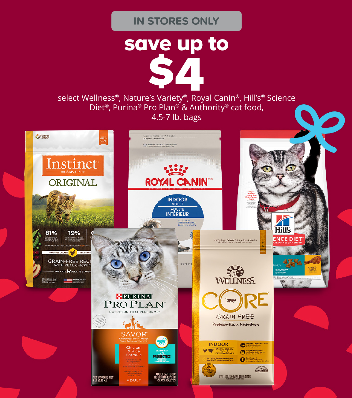 save up to $4 select Wellness®, Nature's Variety®, Royal Canin®, Hill's® Science Diet®, Purina® Pro Plan® & Authority® cat food, 4.5-7 lb. bags