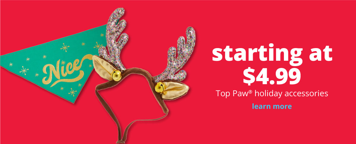 starting at $4.99 Top Paw® holiday accessories