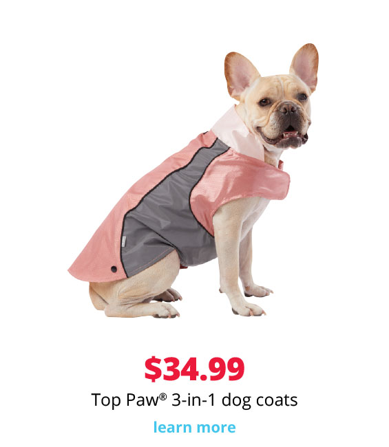 $34.99 Top Paw® 3-in-1 dog coats
