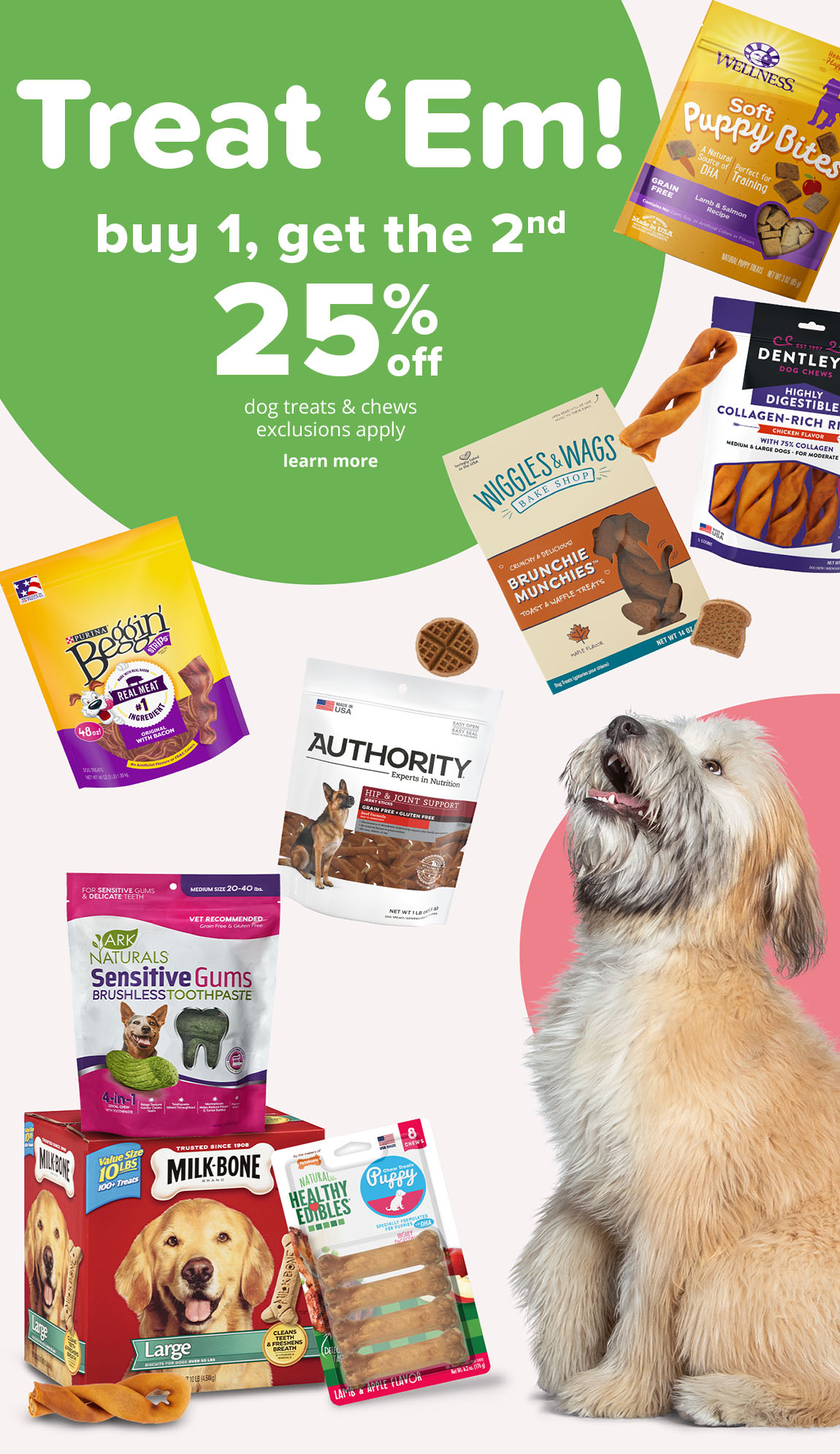 buy 1, get the 2nd  25% off dog treats & chews  exclusions apply