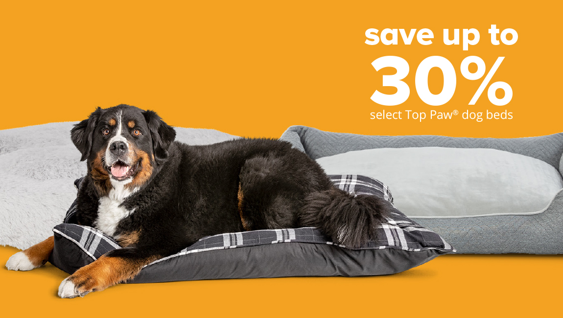 save up to 30%	select Top Paw® dog beds
