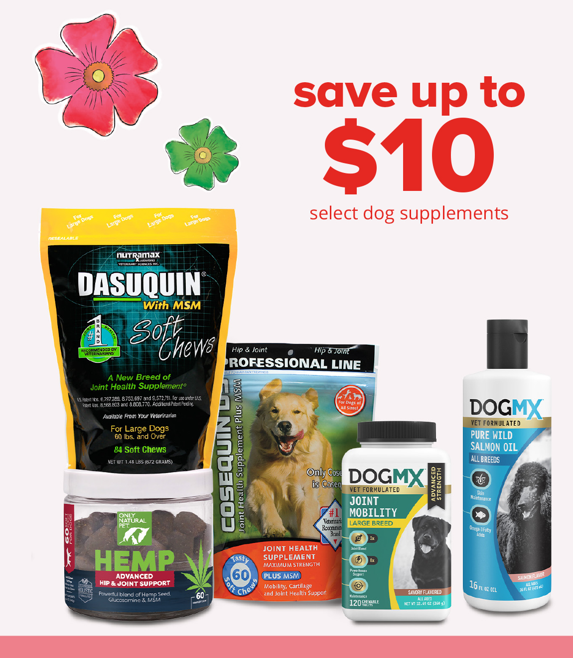 save up to $10	select dog supplements