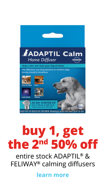 buy 1 get the 2nd 50% off 	entire stock ADAPTIL® & FELIWAY® calming diffusers