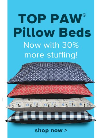 Top Paw® Pillow Beds - Now with 30% more stuffing! shop now >