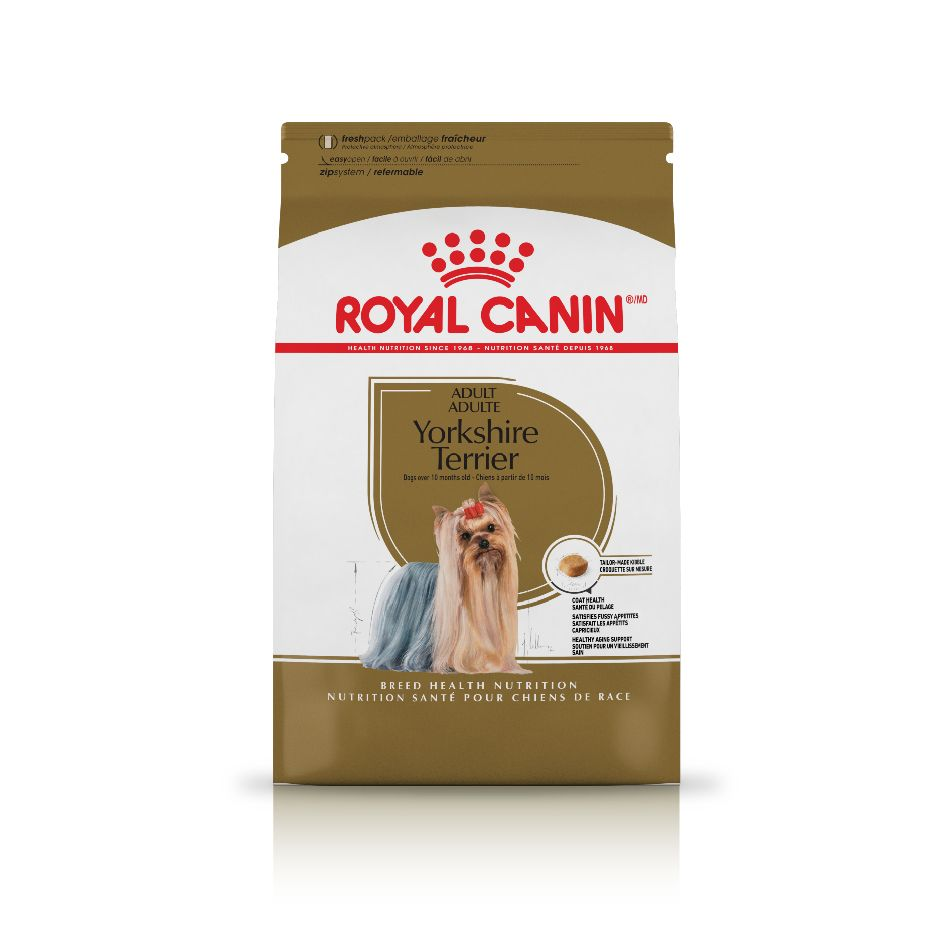 ROYAL CANIN® Yorkshire Terrier: : Provides fatty acids and biotin to help keep                     Yorkshire Terrier's coat silky and                     luxurious
