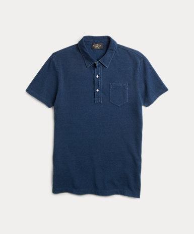 インディゴ コットン ポケット ポロシャツ