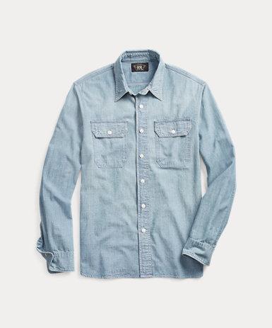 インディゴ シャンブレー ワークシャツ