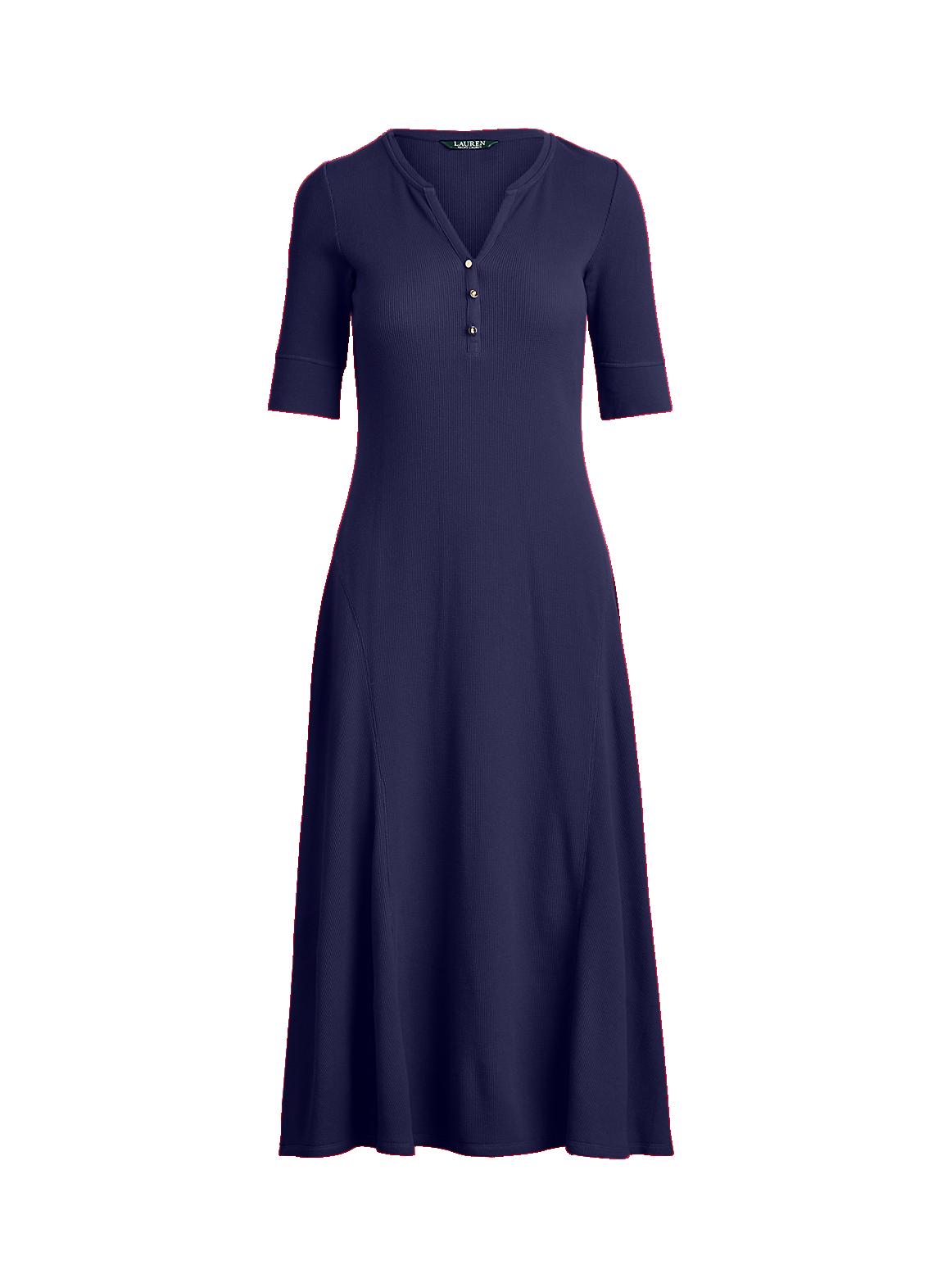 コットン ヘンリーネック ドレス