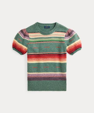 ストライプド ショートスリーブ セーター