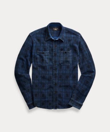 プラッドプリント ジャージー ワークシャツ