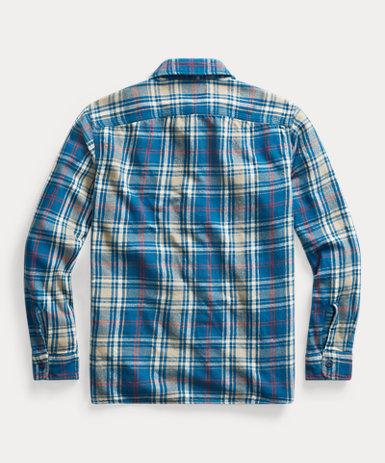 インディゴ プラッド ツイル ワークシャツ