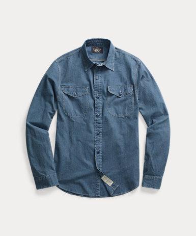 インディゴ オックスフォード ワークシャツ