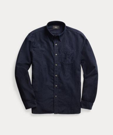 インディゴ モールスキン ワークシャツ