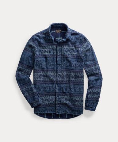 フェアアイル編み ジャカード ワークシャツ