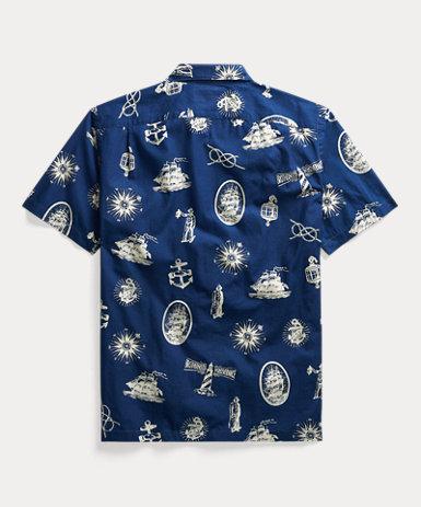 インディゴ ノーティカル キャンプシャツ