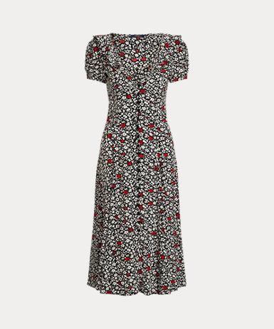 フローラル クレープ ドレス