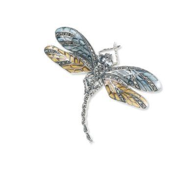 Silver / Amethyst Dragonfly Brooch (Solid-Winged)